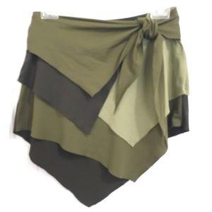 Swim skirt vtg green layered Island Native costume